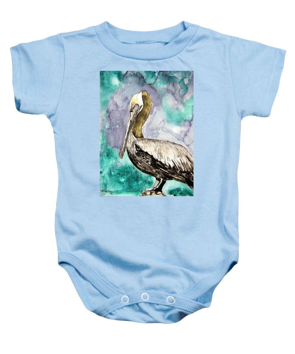 Pelican Baby Onesie featuring the painting Pelican by Derek Mccrea