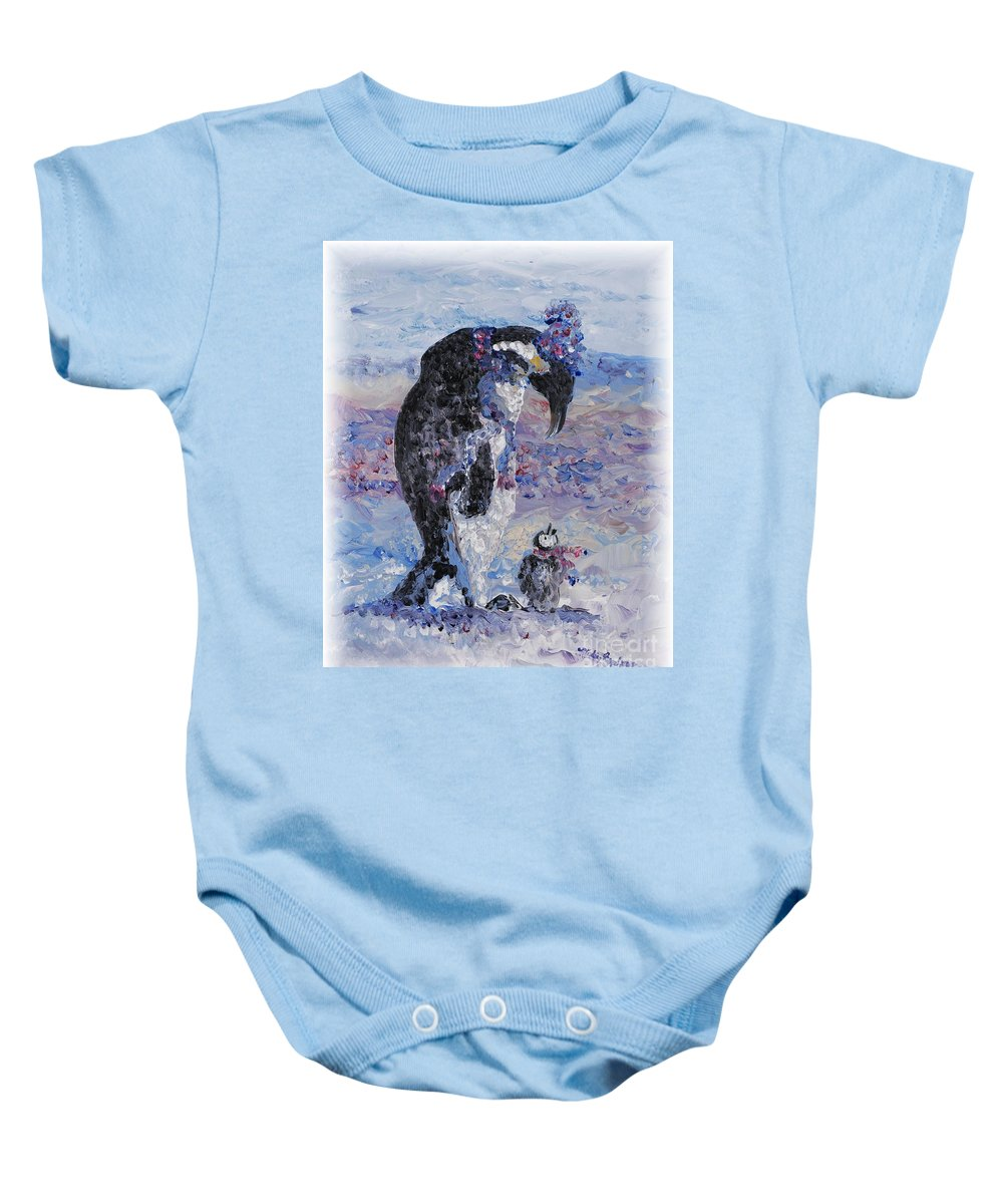 Penguins Winter Snow Blue Purple White Baby Onesie featuring the painting Penguin Love by Nadine Rippelmeyer