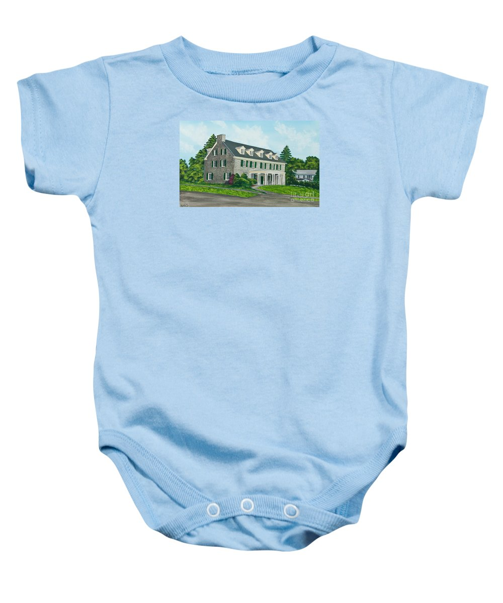 Colgate University Baby Onesie featuring the painting Phi Gamma Delta by Charlotte Blanchard