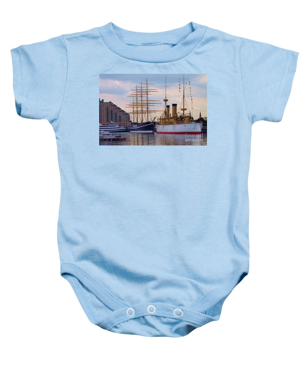 Philadelphia Baby Onesie featuring the photograph Philadelphia Waterfront Olympia by Debbi Granruth