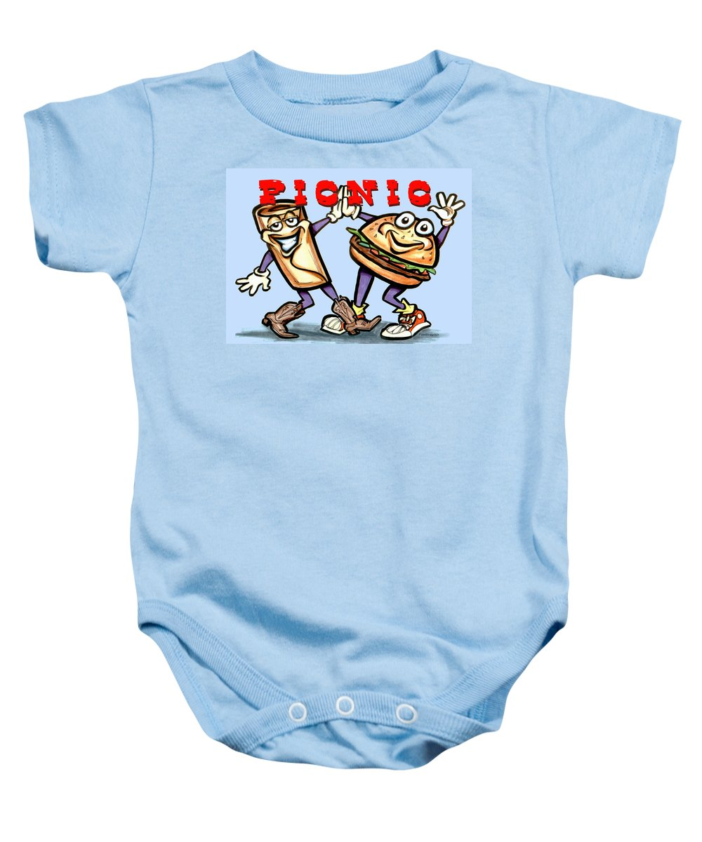 Picnic Baby Onesie featuring the greeting card Picnic by Kevin Middleton