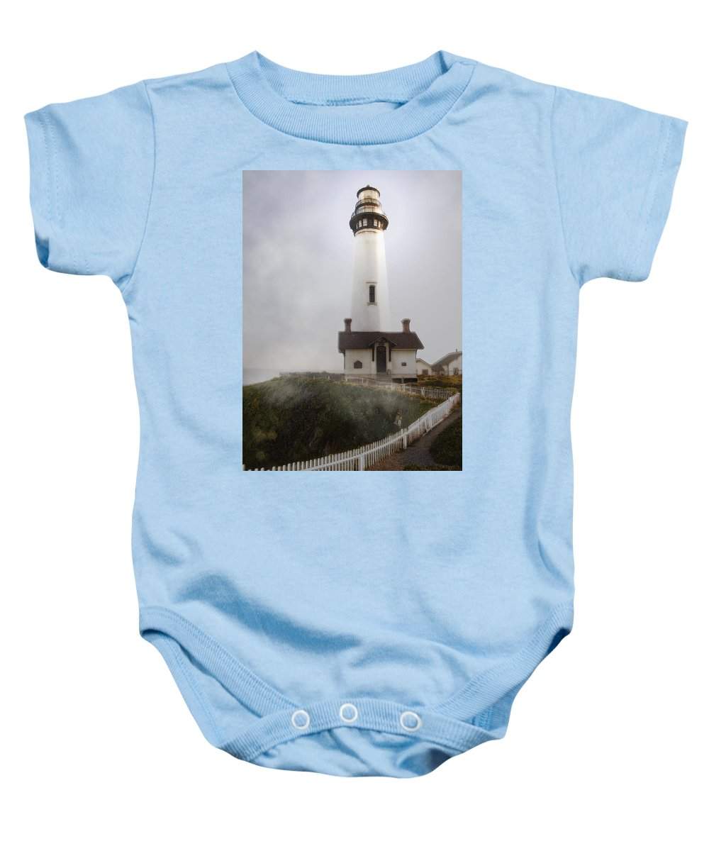 Ocean Baby Onesie featuring the photograph Pigeon Point Lighthouse by Karen W Meyer