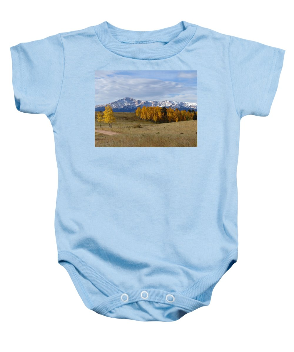 Fall Baby Onesie featuring the photograph Pikes Peak In The Fall by Carol Milisen