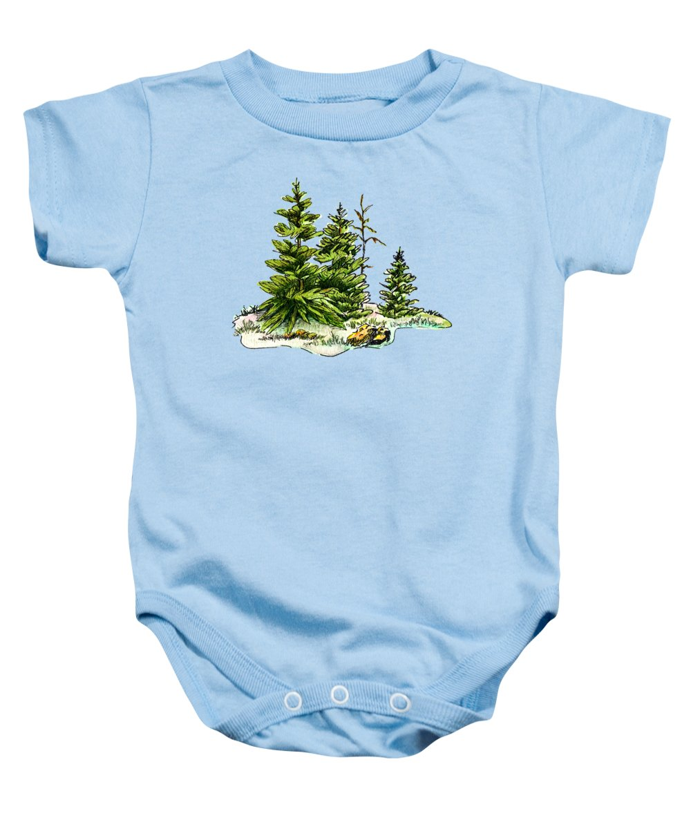 Christmas Tree Onesie.Pine Tree Watercolor Ink Image I Baby Onesie