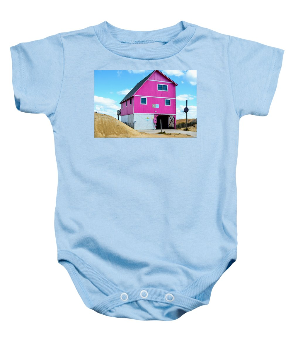 Pink House On The Beach Baby Onesie featuring the painting Pink House On The Beach 1 by Jeelan Clark