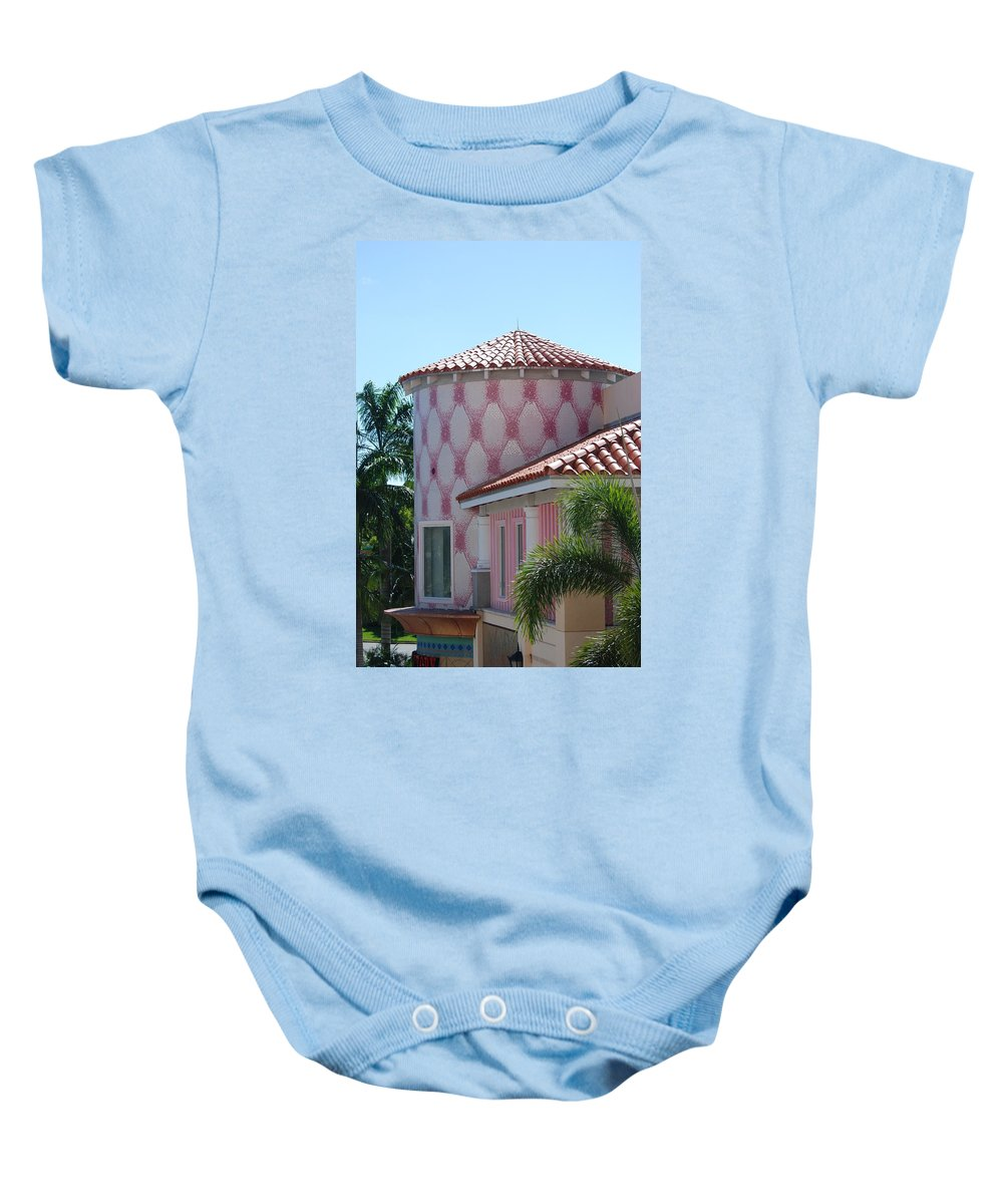 Architecture Baby Onesie featuring the photograph Pink Tower by Rob Hans