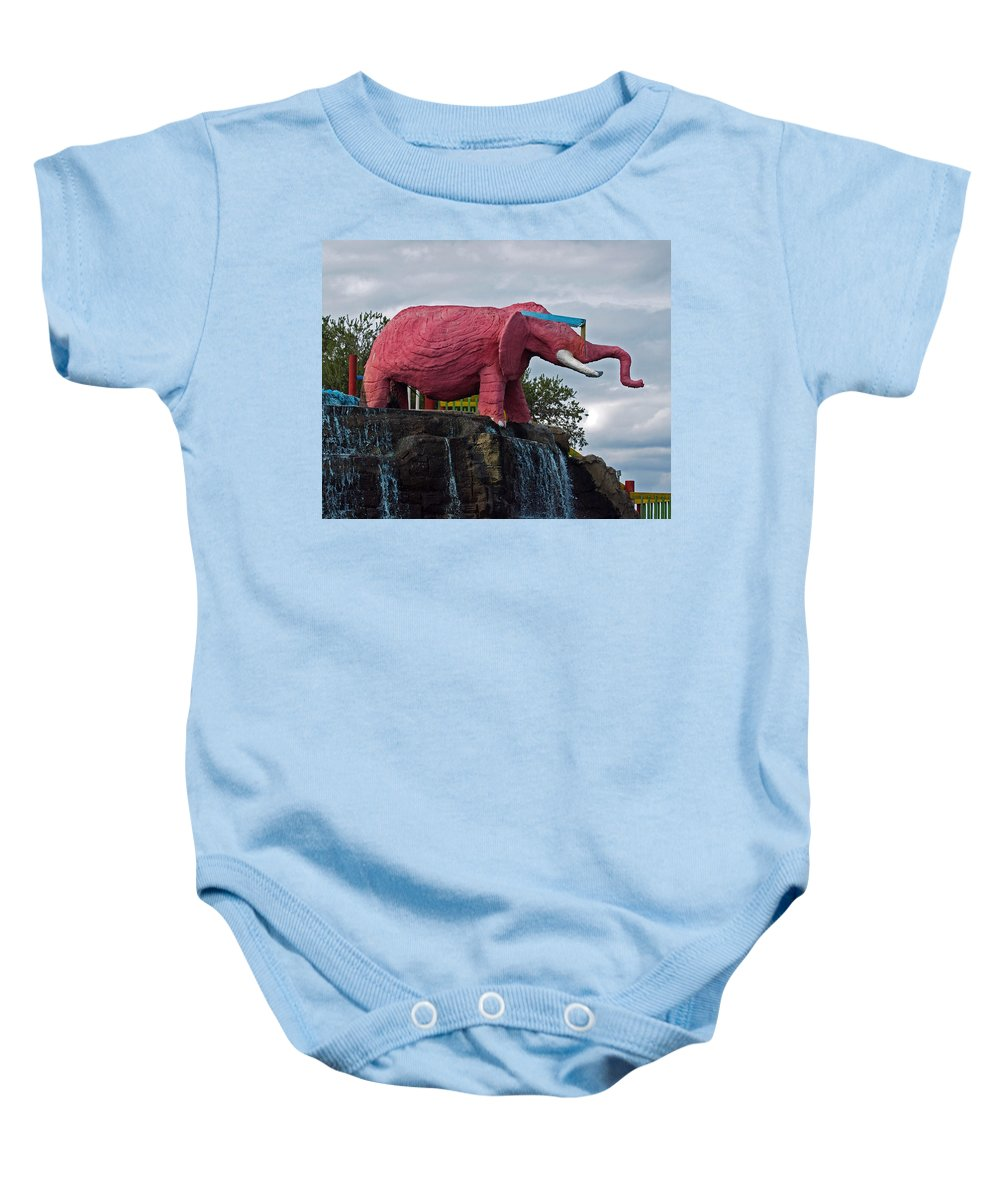 Florida; Kitsch; Roadside; Road; Side; Astronaut; Cape; Canaveral; Pinky; Elephant; Statue; Monument Baby Onesie featuring the photograph Pinky The Elephant At Cape Canaveral by Allan Hughes