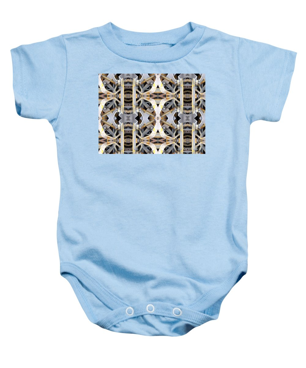 Abstract Baby Onesie featuring the digital art Pipe Hanger by Ron Bissett