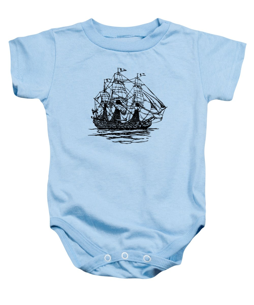 Pirate Ship Baby Onesie featuring the digital art Pirate Ship Artwork - Vintage by Nikki Marie Smith