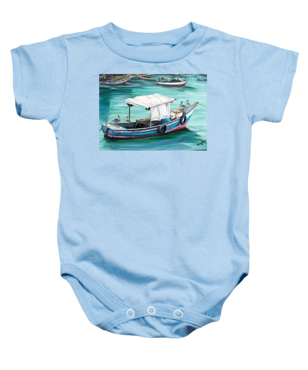 Fishing Boat Painting Seascape Ocean Painting Pelican Painting Boat Painting Caribbean Painting Pirogue Oil Fishing Boat Trinidad And Tobago Baby Onesie featuring the painting Pirogue Fishing Boat by Karin Dawn Kelshall- Best