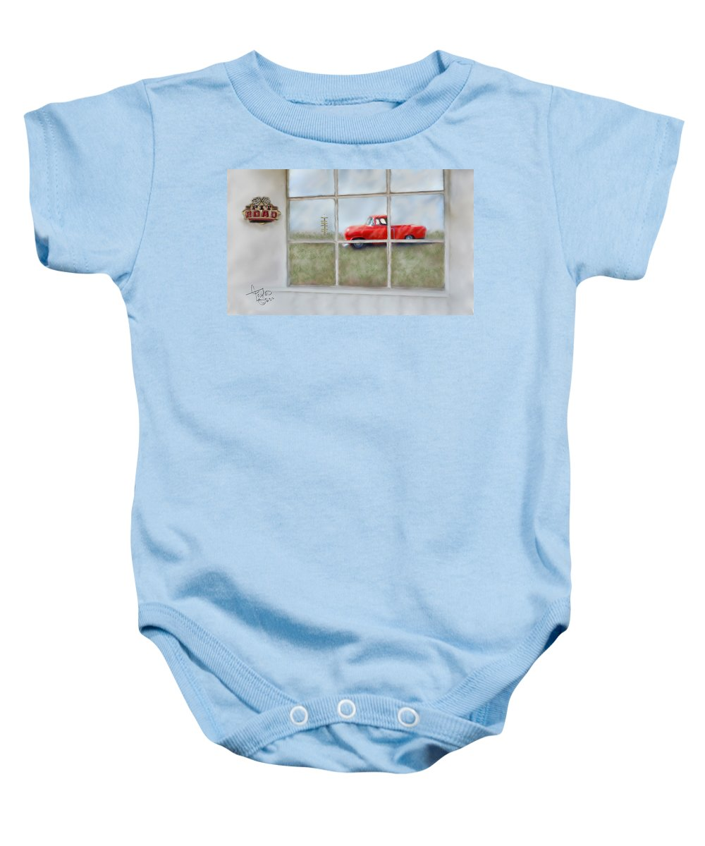 Truck Baby Onesie featuring the painting Pit Road--fire And Ice by Colleen Taylor