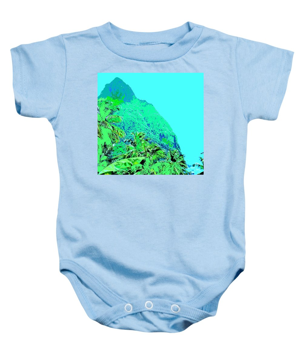 Pitons Baby Onesie featuring the photograph Pitons by Ian MacDonald
