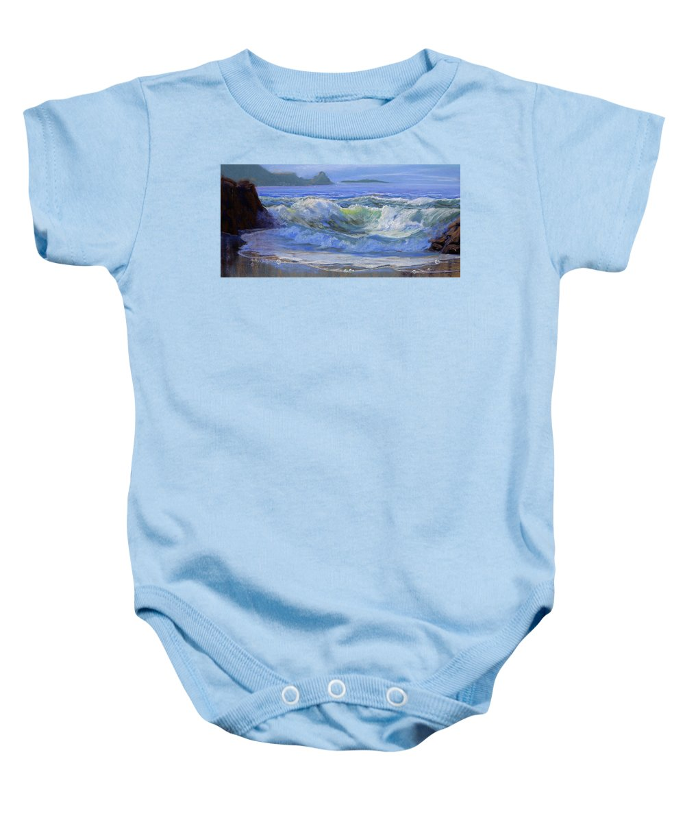 Seascape Baby Onesie featuring the painting Point Reyes by Heather Coen
