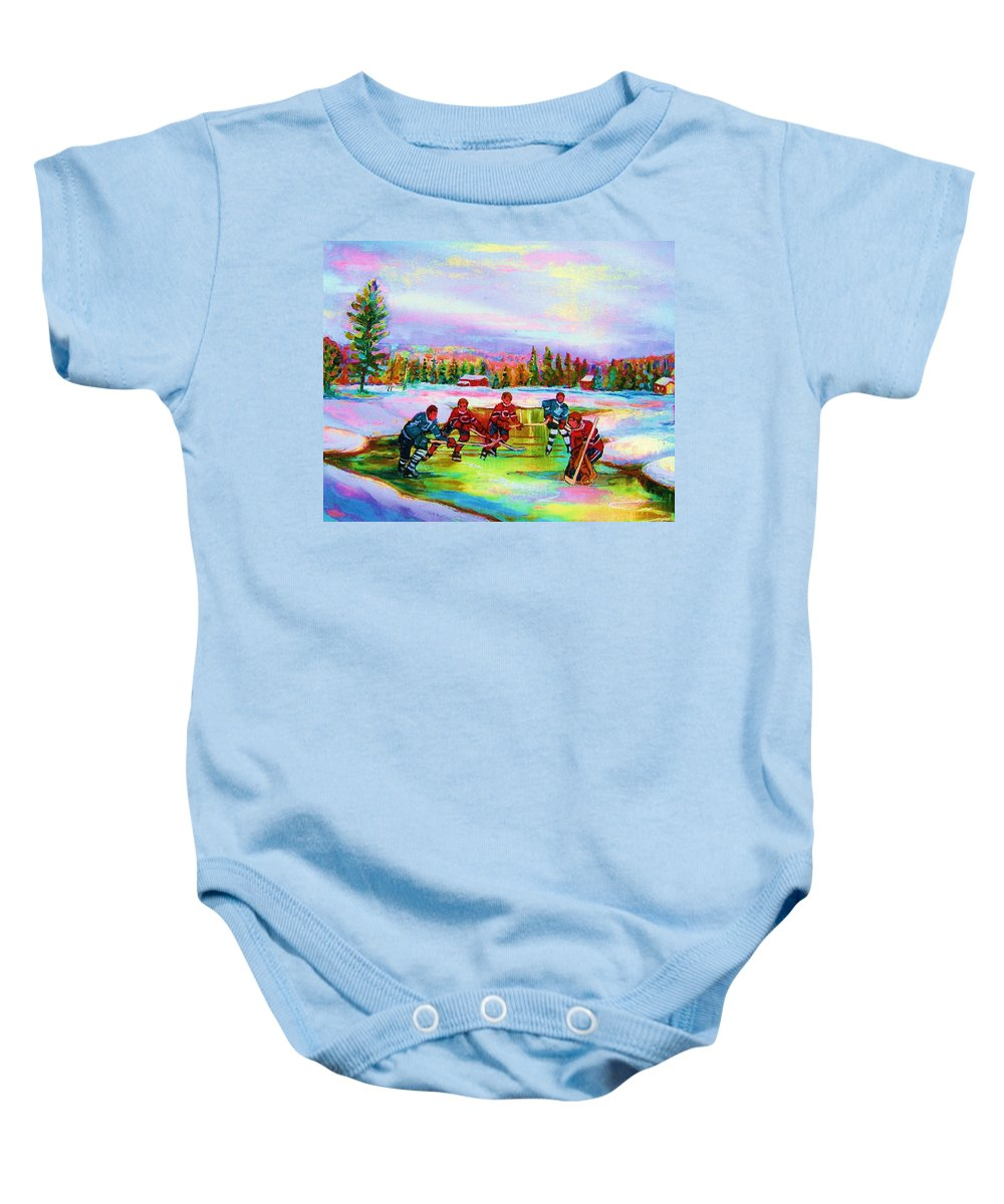Hockey Baby Onesie featuring the painting Pond Hockey Blue Skies by Carole Spandau