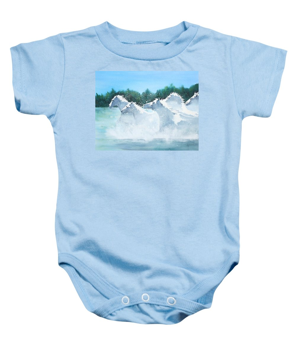 Horse Baby Onesie featuring the painting Splash 2 by Ally Benbrook