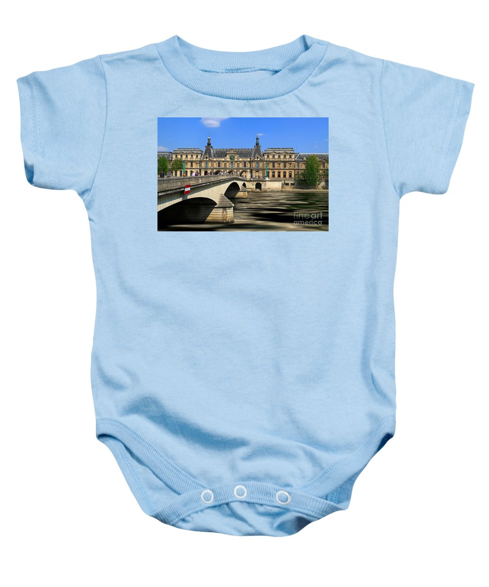 Pont Du Carrousel Baby Onesie featuring the photograph Pont Du Carrousel by Louise Heusinkveld