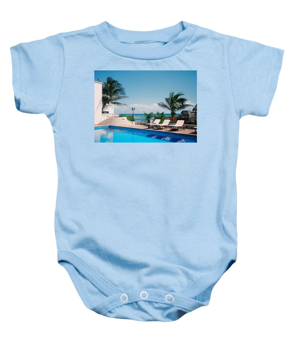 Resort Baby Onesie featuring the photograph Poolside by Anita Burgermeister