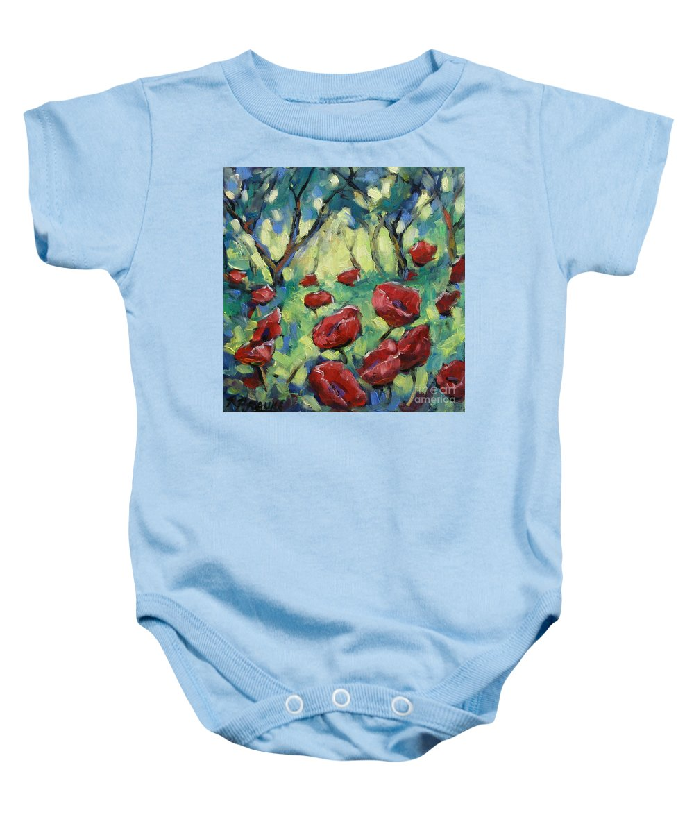 Art Baby Onesie featuring the painting Poppies Through The Forest by Richard T Pranke