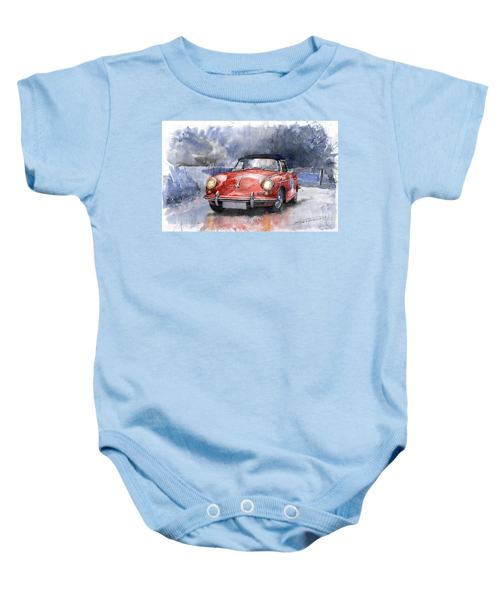 Auto Baby Onesie featuring the painting Porsche 356 B Roadster by Yuriy Shevchuk
