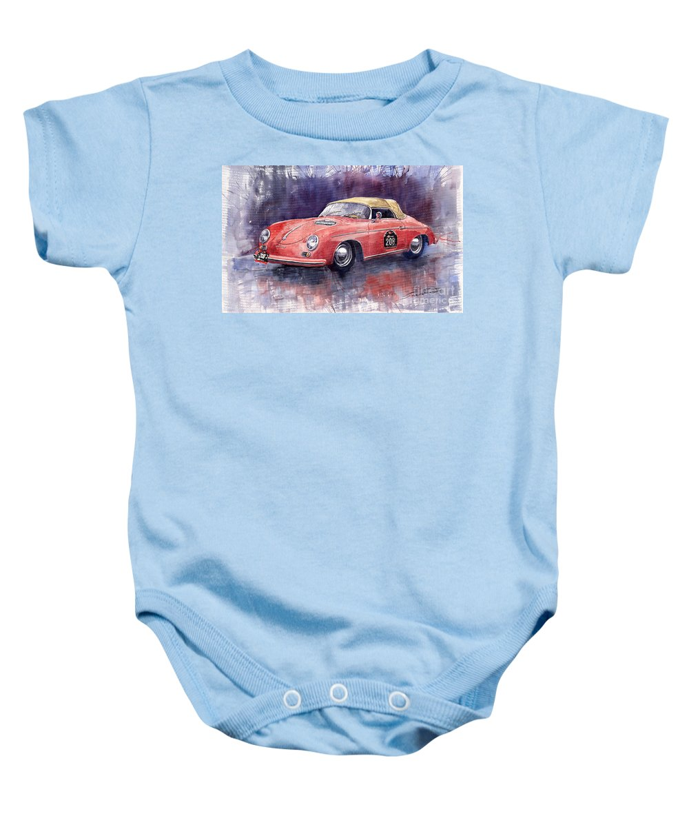 Watercolour Baby Onesie featuring the painting Porsche 356 Speedster Mille Miglia by Yuriy Shevchuk