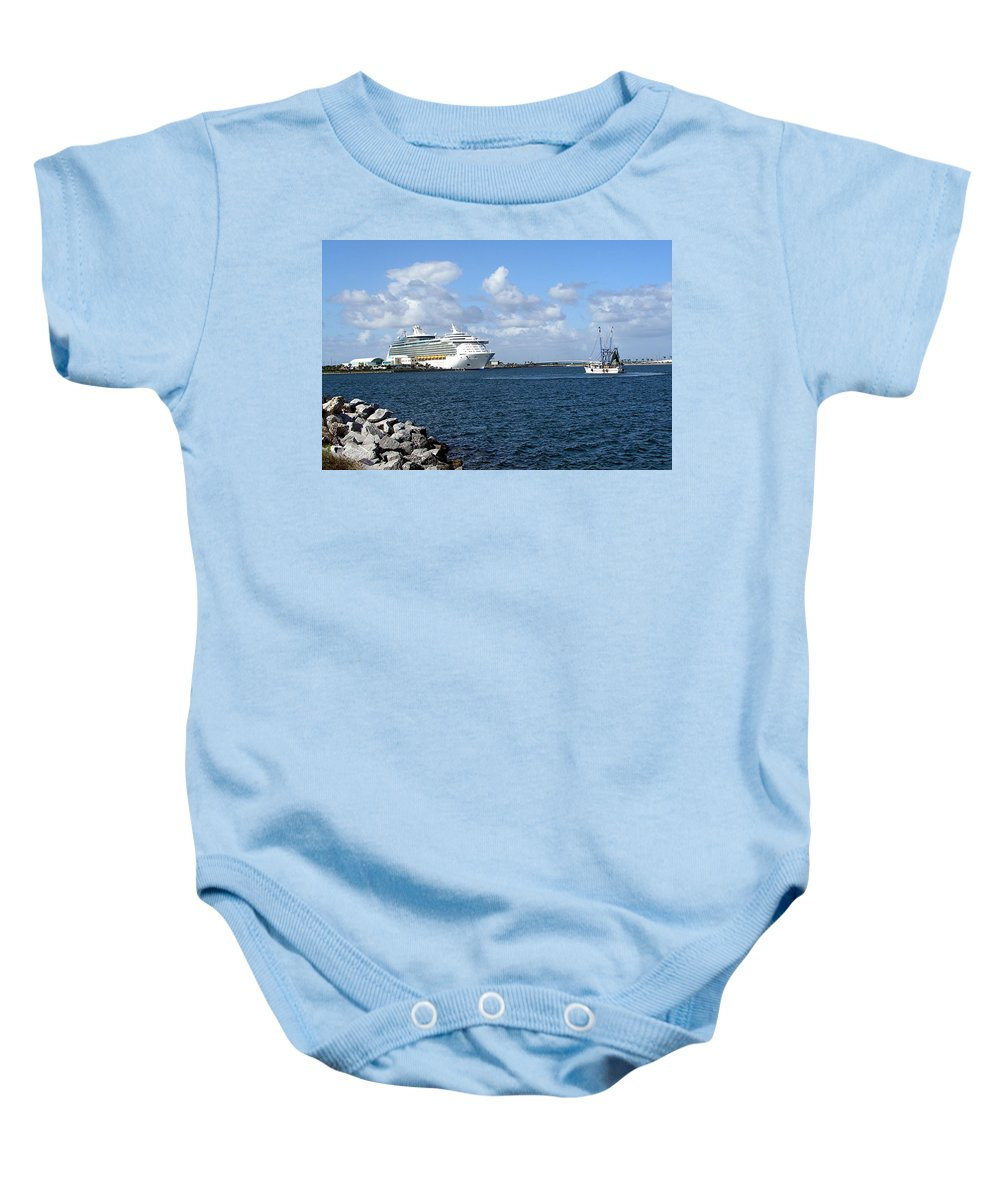 Cruise; Ships; Cruiseship; Ocean; Liner; Oceanliner; Port; Canaveral; Florida; Harbor; Harbour; Blue Baby Onesie featuring the photograph Port Canaveral In Floirda by Allan Hughes