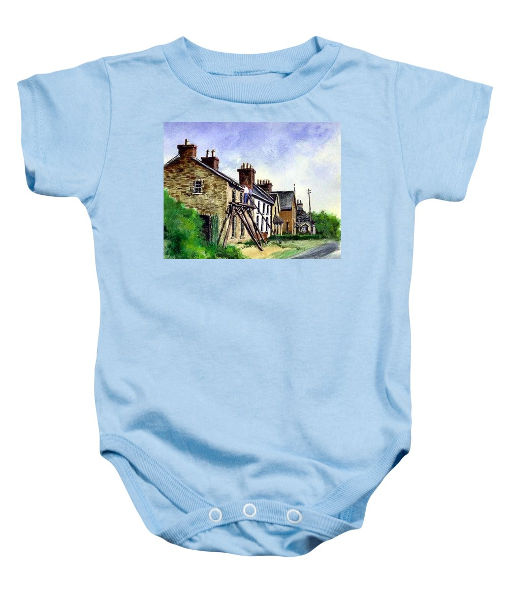 Water Color Baby Onesie featuring the painting Port Rush Gutter Repair by Jim Gola