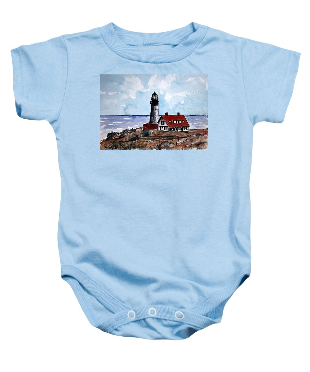 Lighthouse Paintings Baby Onesie featuring the painting Portland Head Lighthouse by Derek Mccrea
