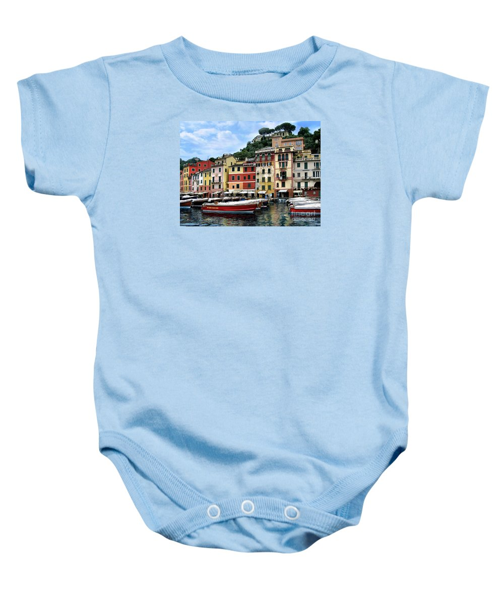 Portifino Baby Onesie featuring the photograph Portofino. Italy by Jennie Breeze