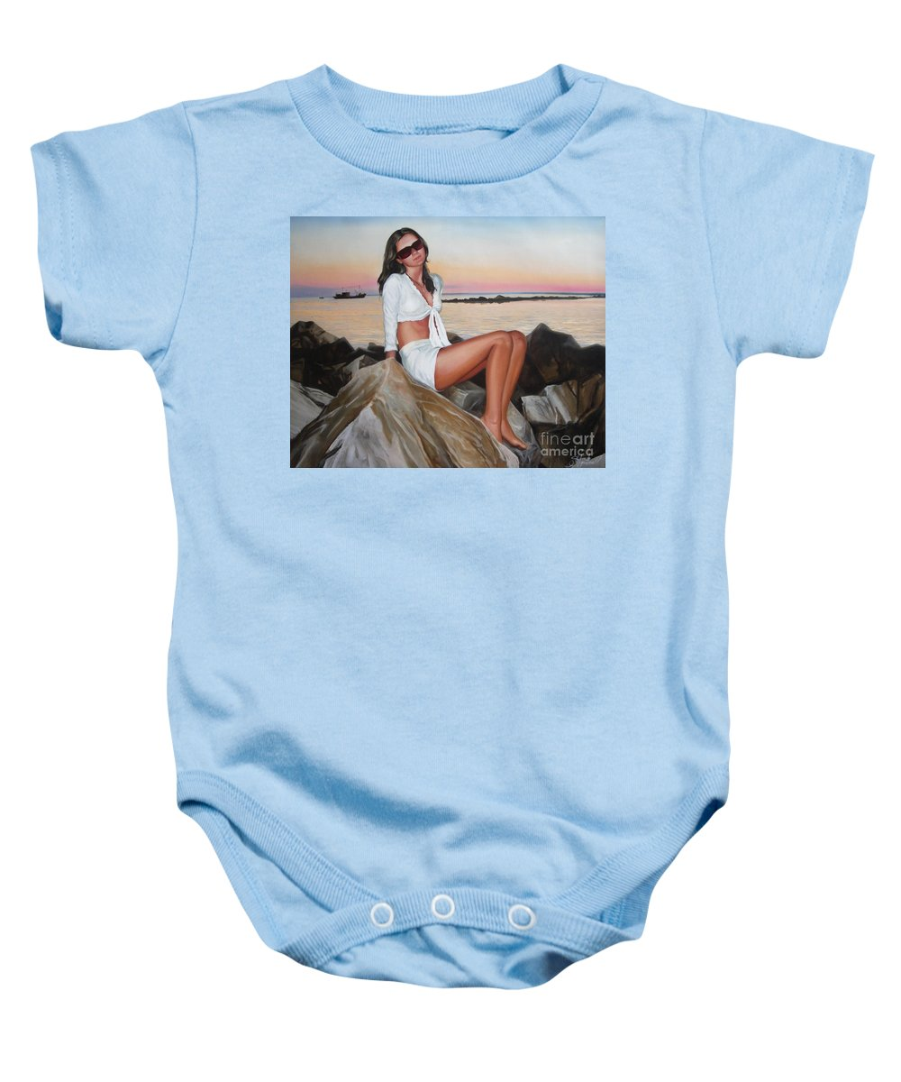 Art Baby Onesie featuring the painting Portrait by Sergey Ignatenko