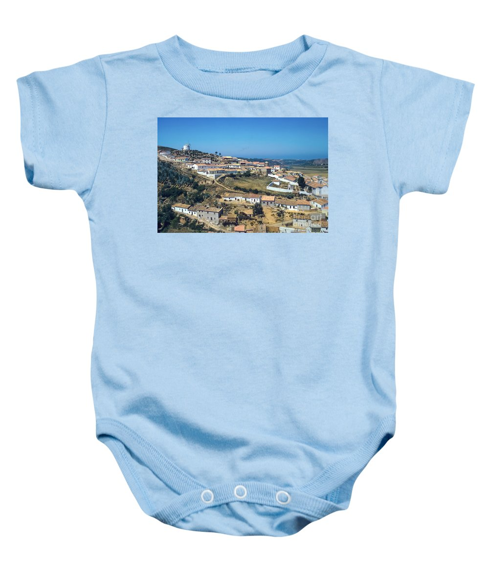 Portugal Portugese Republic Hillside Village Windmill Windmills Mill Mills House Houses Building Buildings Structure Structures City Cities Village Cityscape Cityscapes Architecture Landscape Landscapes Baby Onesie featuring the photograph Portugese Hillside Village by Bob Phillips