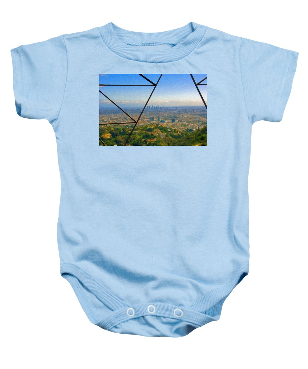 Power Lines Los Angeles Skyline Baby Onesie featuring the photograph Power Lines Los Angeles Skyline by David Zanzinger