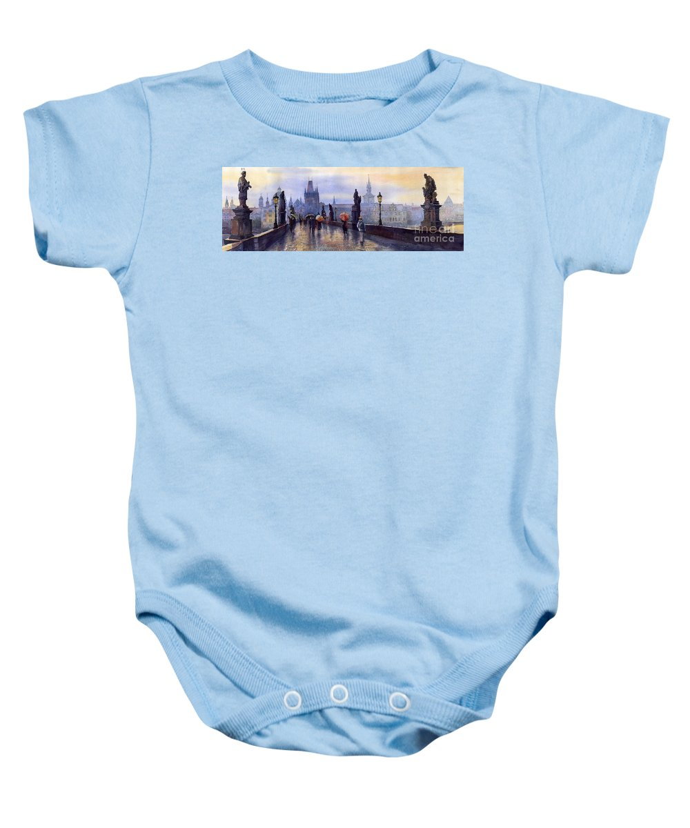 Cityscape Baby Onesie featuring the painting Prague Charles Bridge by Yuriy Shevchuk