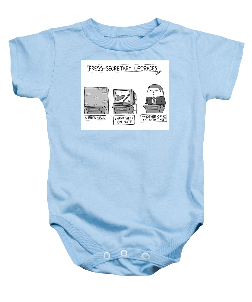 Captionless Baby Onesie featuring the drawing Press-Secretary Upgrades by Lars Kenseth