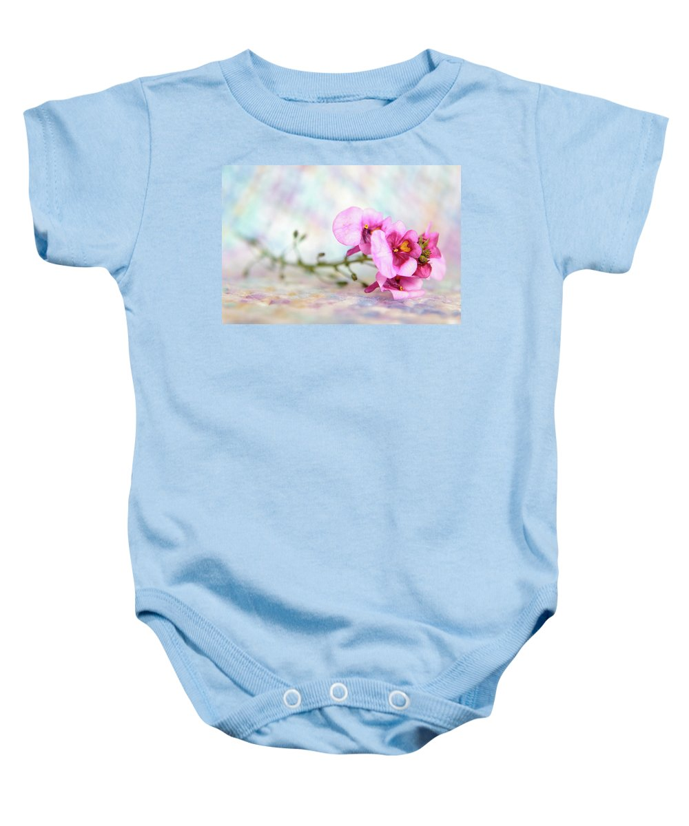 Flowers Baby Onesie featuring the photograph Pretty In Pink by Deborah Ann Stott