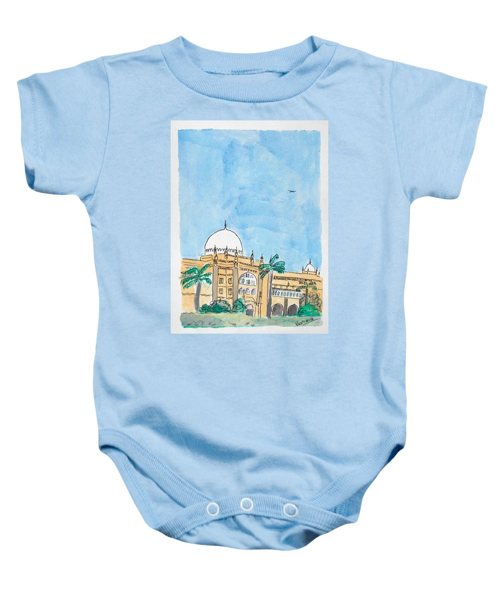 Watercolor Baby Onesie featuring the painting Prince Of Wales Museum Mumbai by Keshava Shukla