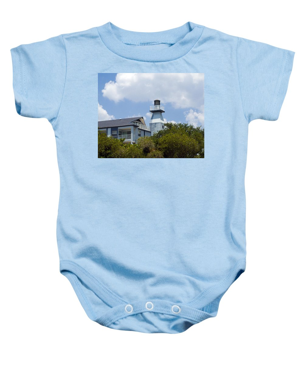 Light; Lighthouse; Private; Beacon; Keeper; Harbor; Harbour; Sail; Sailing; Boats; Boat; Craft; Anch Baby Onesie featuring the photograph Private Lighthouse On The Indian River Lagoon In Melbourne Florida by Allan Hughes