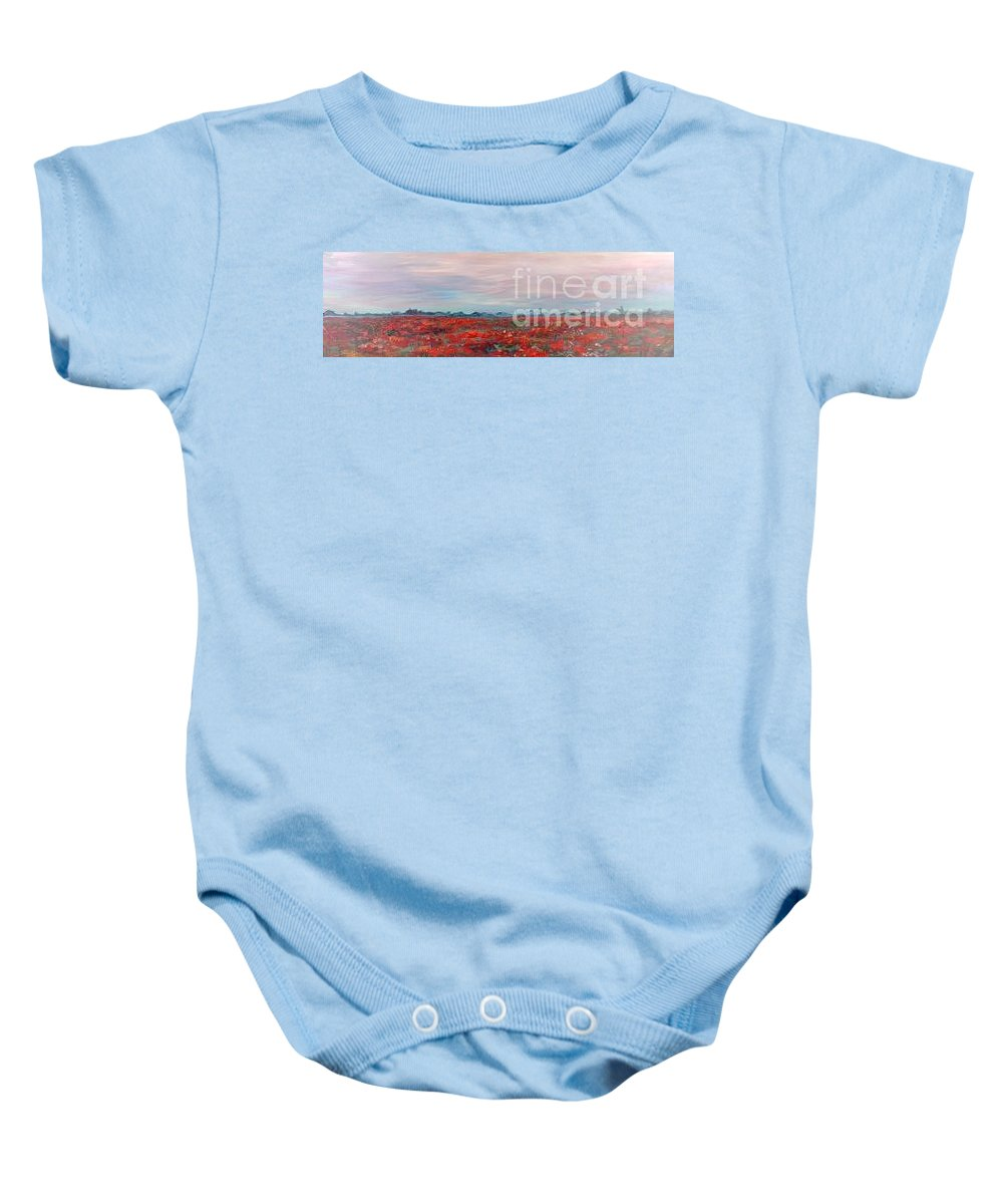 Poppies Baby Onesie featuring the painting Provence Poppies by Nadine Rippelmeyer
