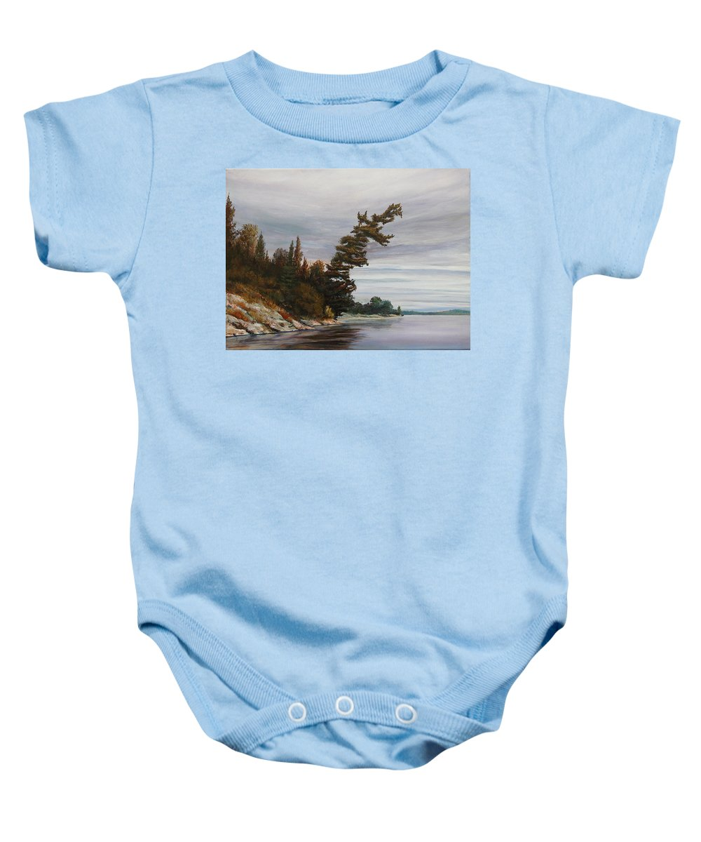 Landscape Baby Onesie featuring the painting Ptarmigan Bay by Ruth Kamenev