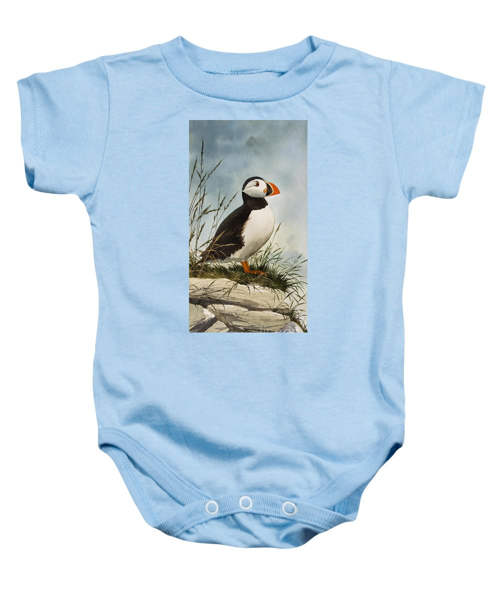 Puffin Fine Art Print Baby Onesie featuring the painting Puffin by James Williamson