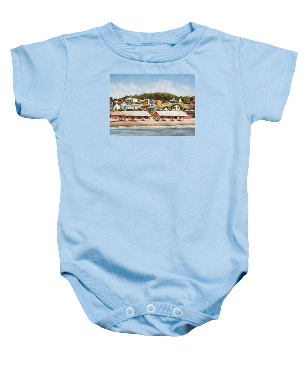 Landscape Seascape Uruguay Sea Seaside Boats Baby Onesie featuring the painting Punta Del Diablo 2 by Natalia Tejera