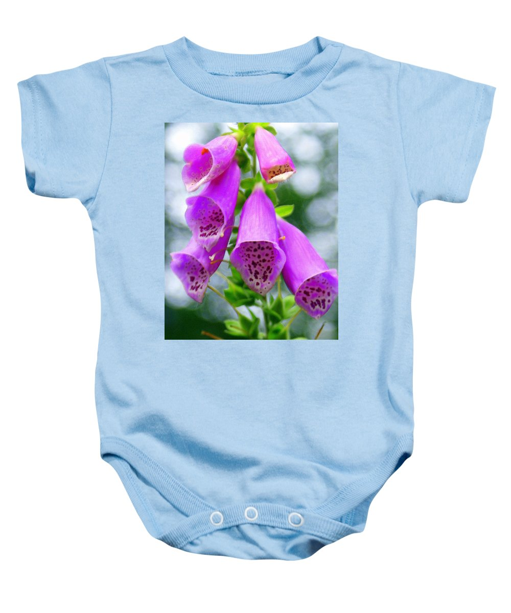 Flowers Baby Onesie featuring the photograph Purple Bells by Marty Koch