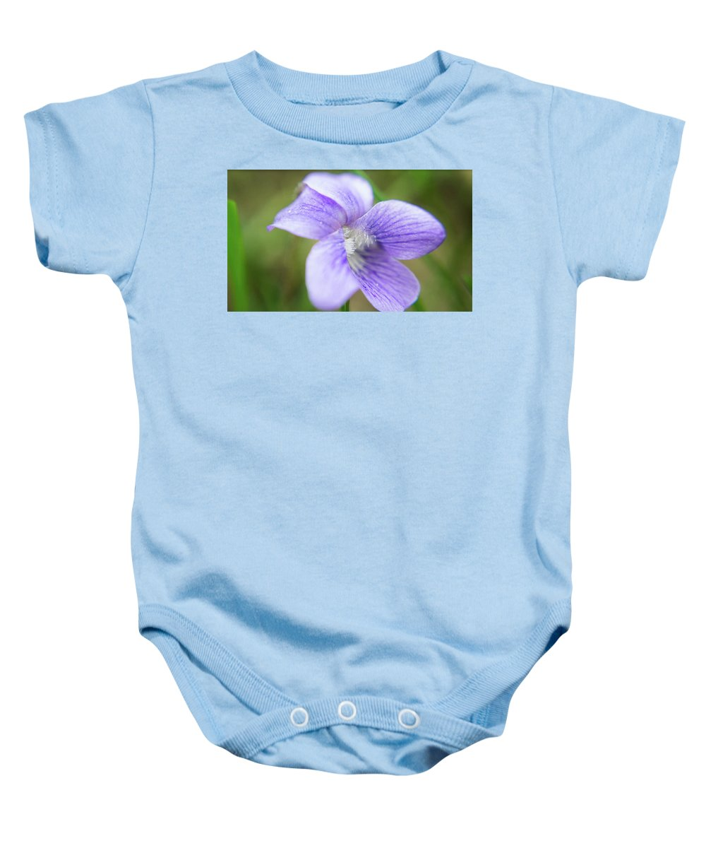 Wild Flower Baby Onesie featuring the photograph Purple Flower Macro by HD Creative group