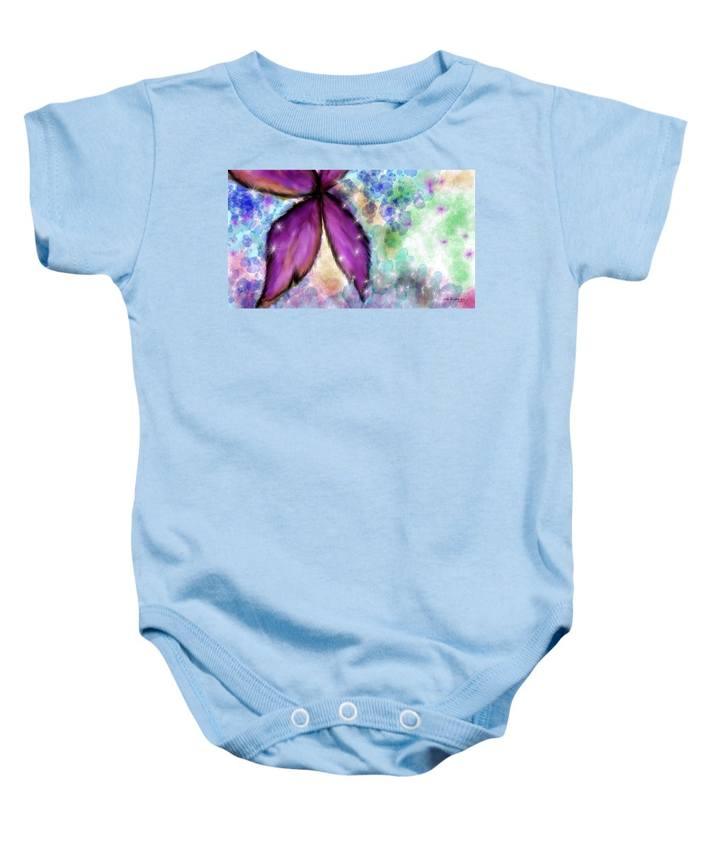 Mixed Media Baby Onesie featuring the painting Purple Flower Watercolor Doodle by Susan Kinney