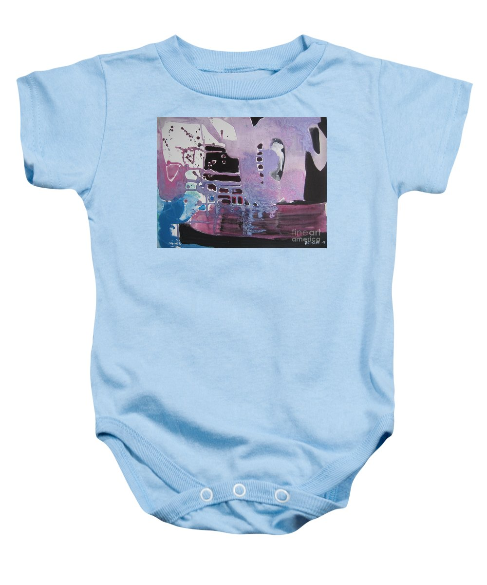 Abstract Paintings Baby Onesie featuring the painting Purple Seascape by Seon-Jeong Kim