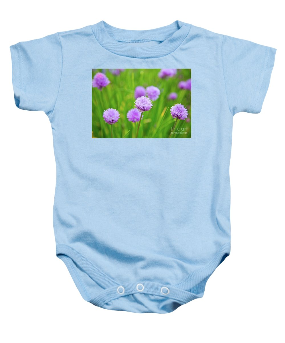 Flora Baby Onesie featuring the photograph Purple Spring 14 by Alex Art and Photo