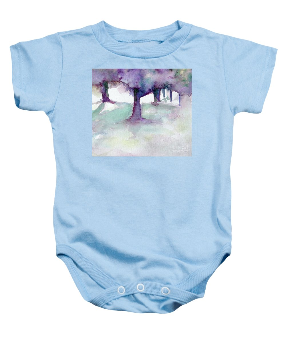 Landscape Baby Onesie featuring the painting Purplescape II by Jan Bennicoff
