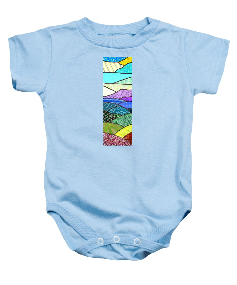 Mountain Baby Onesie featuring the painting Quilted Mountain by Jim Harris