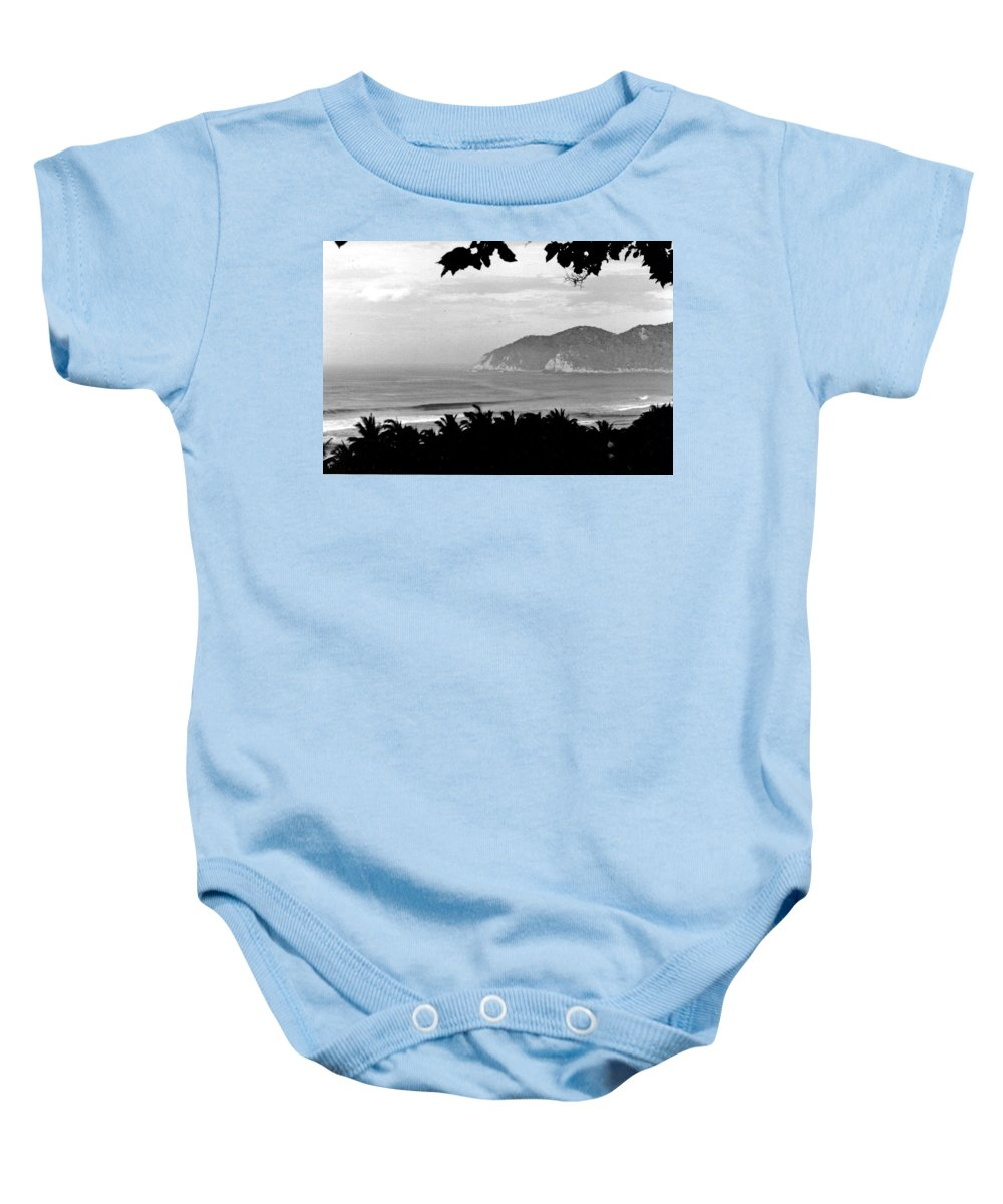 Black And White Baby Onesie featuring the photograph Quite Cove by Wayne Potrafka