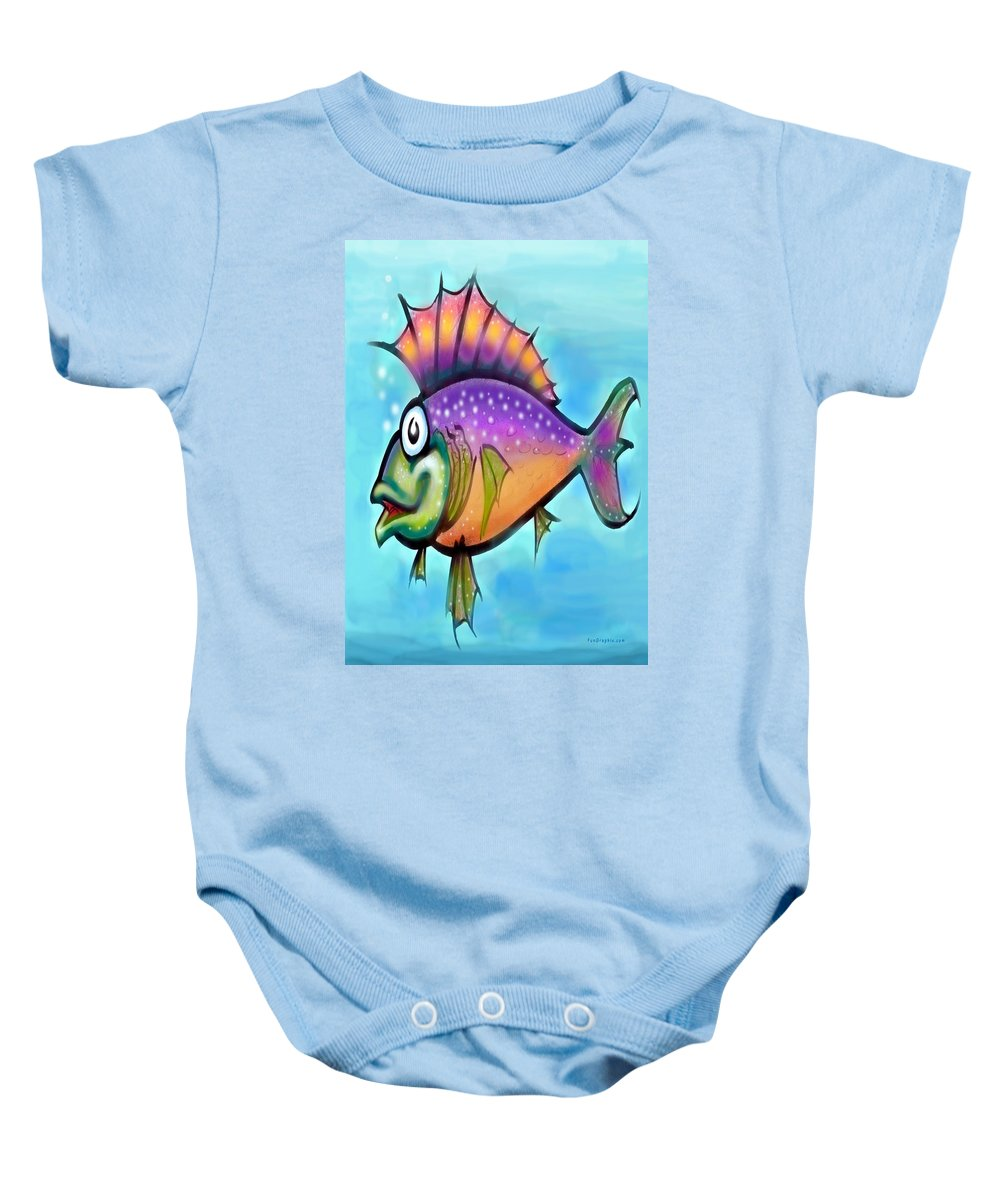 Fish Baby Onesie featuring the greeting card Rainbow Fish by Kevin Middleton