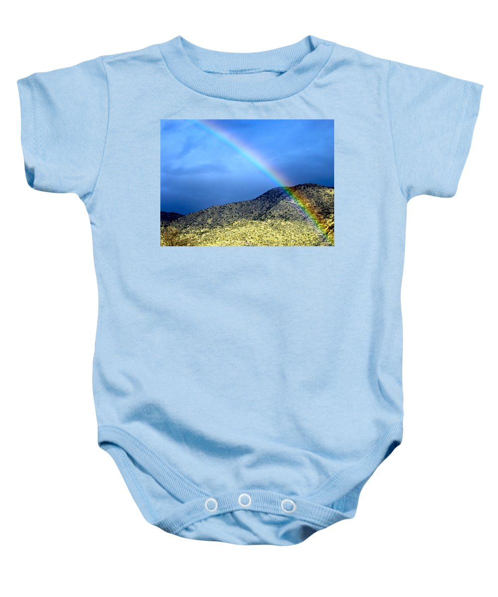 Rainbow Baby Onesie featuring the photograph Rainbow Over Sandia Mountain by Debbie Karnes